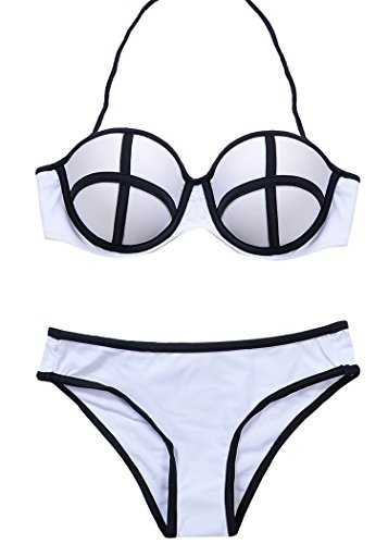 MissTalk Damen Colorblocking Design wattierter Bandeau Push Up Padded klassischer Bikini Sets...