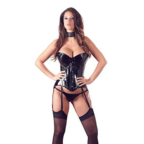 Sexy Straps-Corsage aus Lack mit Formingstäbchen S - XXL Schwarz Black Level Größe Small