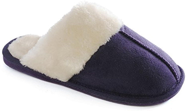 KS Brands - Zapatillas de estar por casa de algodón para mujer morado morado