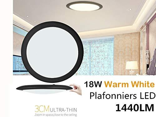 18W/24W/36W UFO LED Deckenleuchte Ultraslim Modern Deckenlampe Flur Wohnzimmer Lampe Schlafzimmer Küche Energie Sparen Licht Wandleuchte (Warm Weiß, 34cm-18W) -
