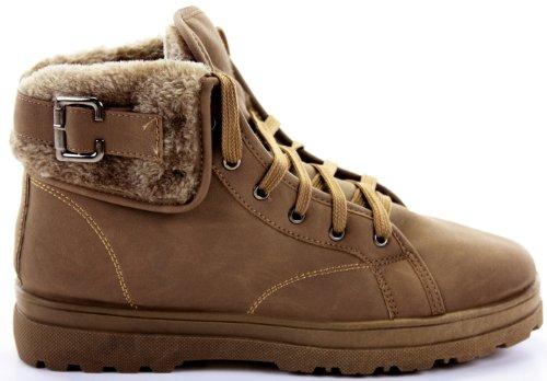 Unbekannt Donna Ankle Boots, motociclista/Esercito Style, Piatto, Pelliccia Ecologica, 35,5–42EU/3–8UK Marrone (Style 4 - Khaki-Khaki Fur)