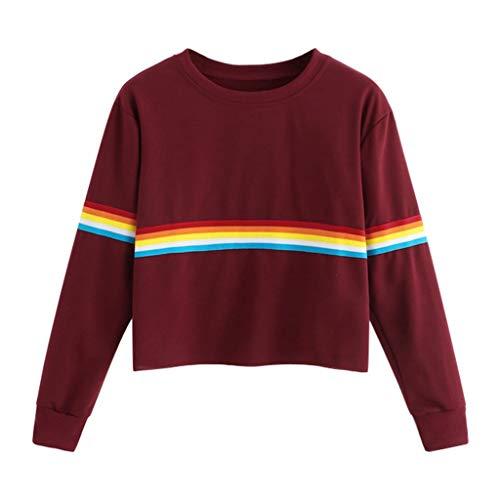 Jugendhj Art und Weise Frauen Lange Hülsen bunter Regenbogen Druck übersteigt Oansatz Sweatshirt Bluse