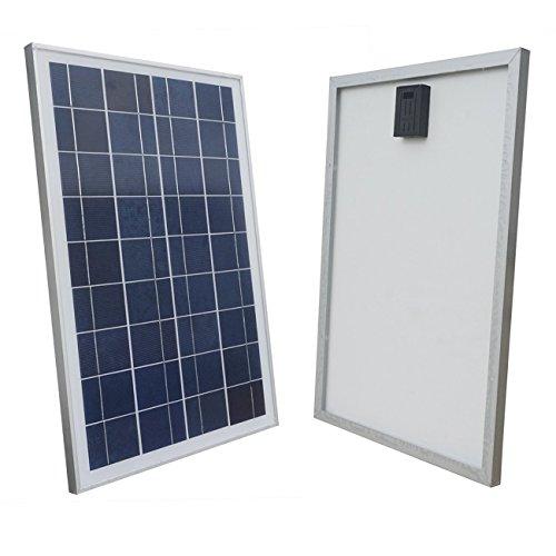 ECO-WORTHY 12 Volt 25 Watt Solarpanel Solarmodul Solarzelle Solar Polykristallin Modul Metallabstreifgitter RV Boot Batterie (50w 12v Solar Panel)