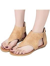 OSYARD Damen Frauen Sandalen,Frauen Flache Sandaletten mit Hinten  Reißverschluss Rivet Freizeitschuhe Bohemia Flat Shoes b37801ced5