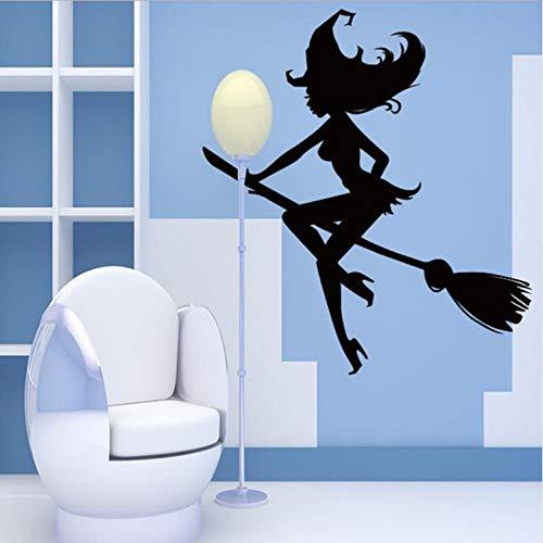 YS753 Halloween Neue Muster Schlafzimmer Raumdekoration Zubehör Moderne Bat Lange Bein Hexe Besen Wanddekor Badezimmer Aufkleber