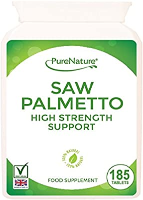 185 Saw Palmetto 3000mg High Strength Superior Grade Tablets - Full 6 Month Supply-100% Quality Assured Money Back Guarantee-FREE UK DELIVERY by Distributed by Be-Beautiful-Online