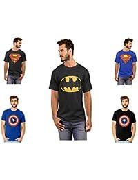 Smartees Cotton Superman, Batman & Captain America Tshirt For Men Combo Pack Of 5
