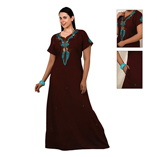 The Arancione Tag Donna Camicia Lunga 100% cotone Sottoveste ricamo dettagliate Size 14–22 Deep Red