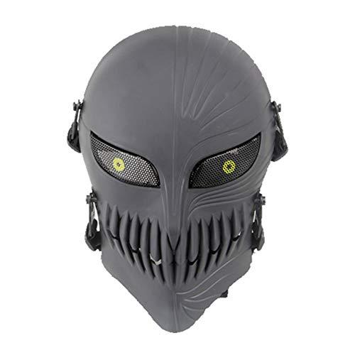 SGOYH Airsoft Taktisch Gear Metal Mesh mit Augenschutz Schädel Volles Gesicht Masken für Cs Wargame Halloween Party Cosplay (Schwarz) (Metal Gear Halloween-kostüm)
