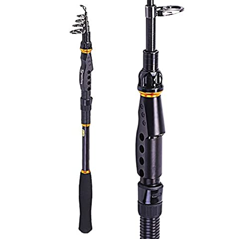 Sougayilang Telescopic Fishing Rod Graphite Carbon Fiber Travel Portable Fishing Pole for Boat Saltwater and Freshwater (6.8ft)