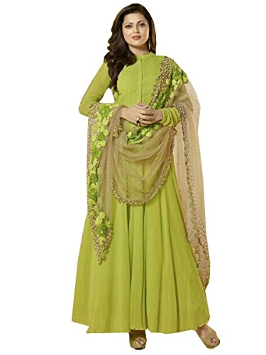 RTHub Women's Dress New Latest Design Parrot Green Georgette Embroidered Party Wear...