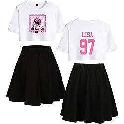 KPOP Blackpink Lisa Conjunto de Dos Piezas Casual Tops + Falda Chándales Activos Expuestos Navel kirts Conjunto Sexy Summer T Shirt