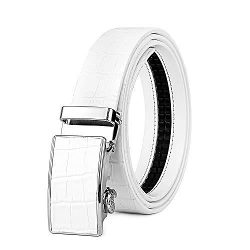 Ground Mind Cinturón de trinquete blanco Cinturones de cuero genuino ajustables con cinturón de hebilla deslizante automático(Patrón de cocodrilo,38'')