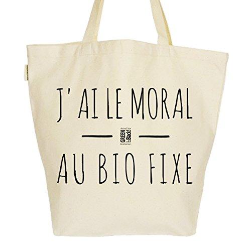 Grand Sac Cabas Fourre-tout Imprimé Toile Bio 37x45x20cm Tote Bag XL - J'ai le moral au BIO fixe