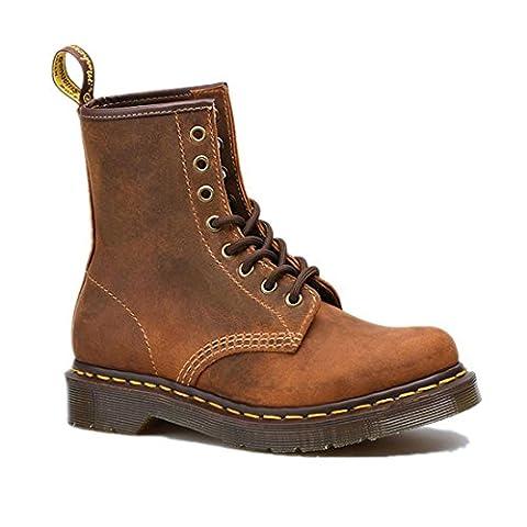 Femmes dames Men Short Boots Fond épais Chaussures de couple Flat New Fashion Martin Bottes Bottes d'outils Lacer Gommage en cuir véritable Antidérapage antidérapant Brown Spring Automne hiver , Brown , EUR 44/ UK