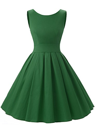 Dressystar Robe à 'Audrey Hepburn' Classique Vintage 1950S Style Vert Militaire