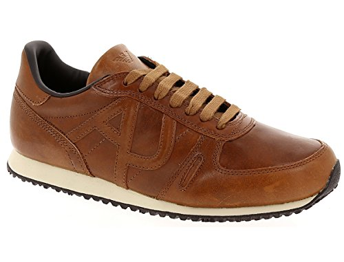 Armani Jeans Men's Tan Leather Trainers Marron