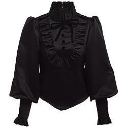 BLESSUME Black Lolita Blusa Volante Negra (L)