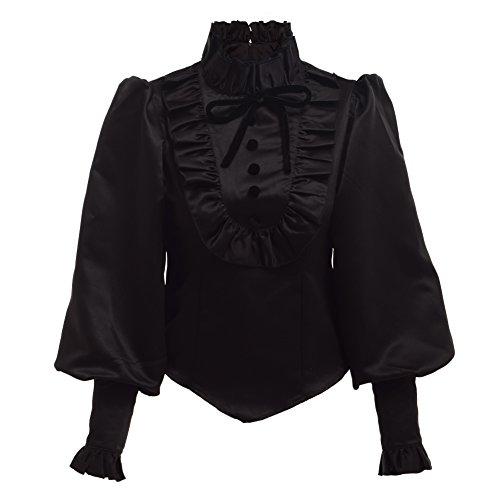 BLESSUME Black Lolita Blusa Volante Negra (XL)