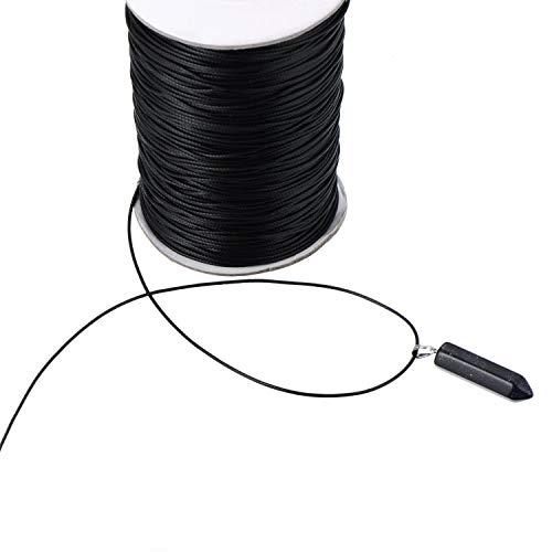 xutong Cordon en Cuir synthétique pour Colliers tressés, Noir (100 mètres, 1,5 mm de diamètre)