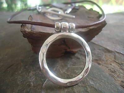 ? Martelé RING & LEATHER ? chaîne en cuir marron - collier