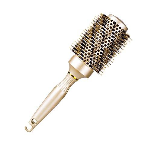 Runde Haarbürste zum föhnen, Rundbürste mit Wildschweinborsten und Nano Thermal Ceramic Ionic Tech Für Haar-Styling, Trocknen, Curling, zum Richten, erhöht das Haar-Volumen und Bringt Glanz (43mm) - Ceramic Ionic Thermal Brush