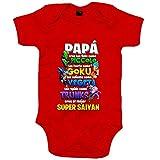 Body bebé Dragon Ball papá eres el mejor Super Saiyan - Rojo, 6-12 meses