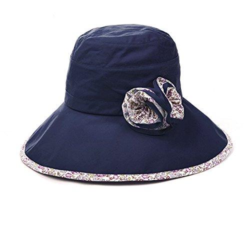SIGGI Baumwolle schlwarzblauer Sommerhut UPF 50 + Sun Shade Strand Hut für Damen Sonnenhüte breite Krempe