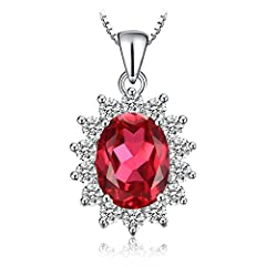 Idea Regalo - JewelryPalace Ovale 3.2ct Principess Diana William Kate Middleton's Sintetico Rosso Rubino Pendente 925 Sterling Argento Pendente Collana 45cm