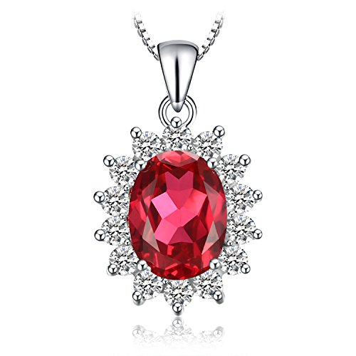 JewelryPalace Ovale 3.2ct Principess Diana William Kate Middleton's Sintetico Rosso Rubino Pendente 925 Sterling Argento Pendente Collana 45cm