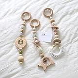 Mamimami Home 3pc Baby Holz Beißring Tiere Donut Rassel Kautable Silikon Perlen Spielen Gym Kinderwagen Spielzeug Pflege Anhänger Charme Kinderkrankheiten Spielzeug