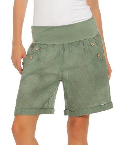 280 Mississhop Damen Leinenshorts Bermuda lockere Kurze Hose Freizeithose 100% Leinen Shorts mit DREI Knöpfen Sommer Strand Oliv XL