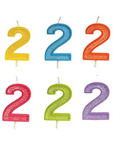 Bougie anniversaire pailletée chiffre 2-Vert- 0635292587337