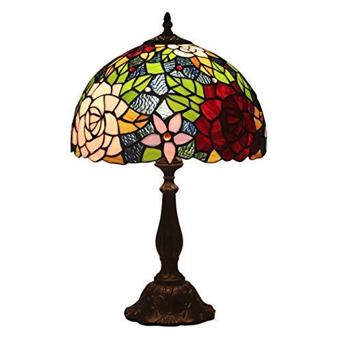 Tiffany Stil Antike Messing Effekt Basis Tischlampe Vintage Glasmalerei Rose Floral Design Schreibtischlampe E27, (W11.81