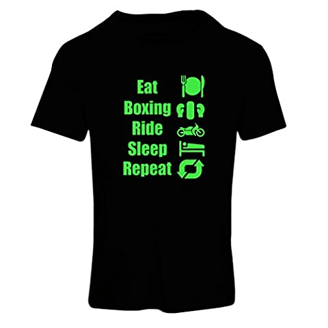T-shirt femme Eat Sleep Boxing Repeat - pour les combattants et les cavaliers (X-Large Noir Verte)