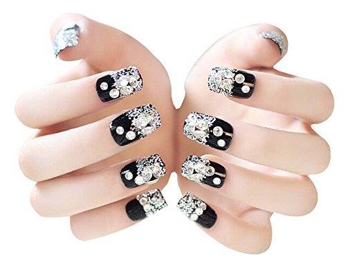 2 Boîtes(48Pièces) Cristal mariage faux ongle/Classique style faux ongle, noir