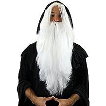 WIG ME UP - PW0210-P60 - Peluca, hechicero canoso, brujo, White Wizard