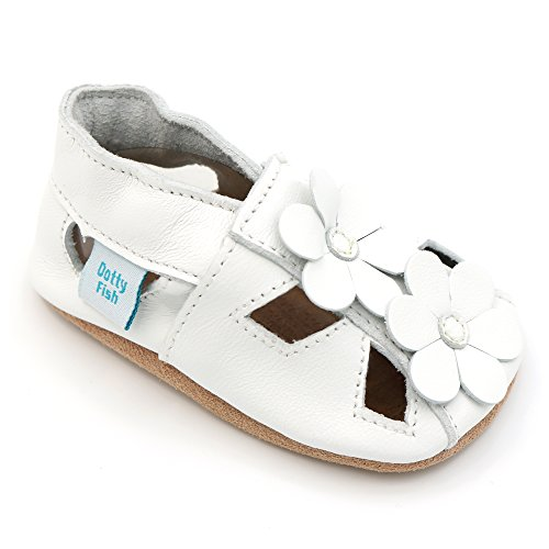 Dotty Fish Weiche Baby und Kleinkind Lederschuhe. Mädchen Weiße Sandalen mit Blumen. 12-18 Monate (21 EU) - Leder Blume Sandalen