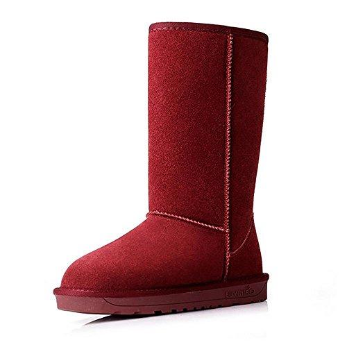 SHANGXIAN Donna Originale Alto Inverno Nero Neve Pioggia Ginocchio Alto Stivali Red