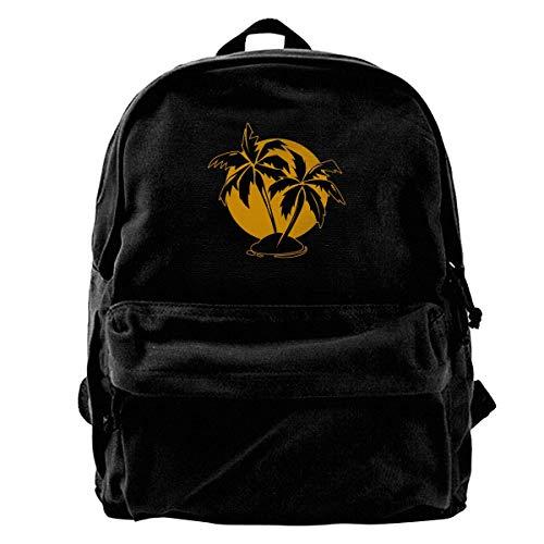 SAGDHFH Rucksack mit Palmen und Sonne, aus Segeltuch, für Herren und Damen, leicht, für Reisen, niedliche Schultertaschen