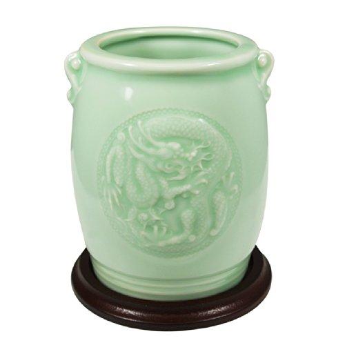 Wrapables Geschenke und Decor Chinesischer Drache und Phoenix Seladon Keramik Vase, 11,4 -