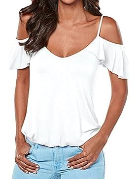 ZKOO Mujer Camiseta Mangas Cortas Blusa Del Color Solido Playa Hombros Descubiertos Elegante De Verano
