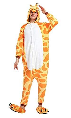 Giraffe Ganzkörper Tier-Kostüm für Erwachsense - Plüsch Einteiler Overall Jumpsuit Pyjama Schlafanzug - Orang/Weiß - Gr. ()