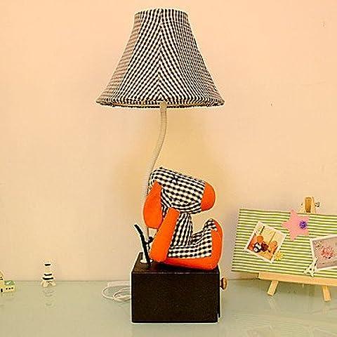 dee Historieta del perro de la lámpara de mesa de forma con cajón, tela roja linda