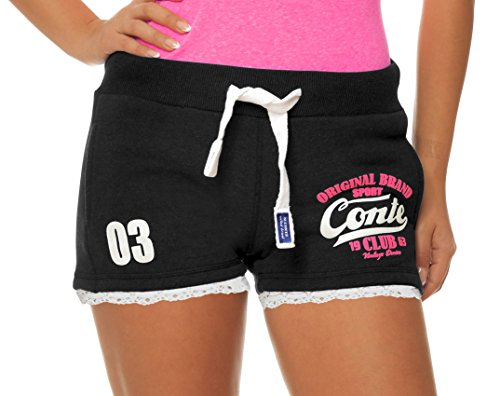 M.Conte Damen Jersey-Shorts Basic Skinni Fit Sport-Shorts/Training Retro-Shorts Kurze Damen-Hose Pants Jogginghose Sporthose Blau Neon Pink Weiss Rot S M L XL (S, Schwarz Black)