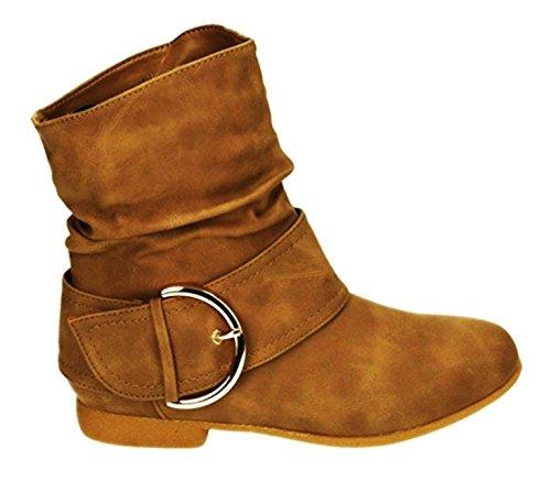 Damen Stiefeletten Cowboy Western Stiefel Boots Flache Schlupfstiefel Schuhe 91 (40, Camel) (Stiefel Damen Flache Camel)