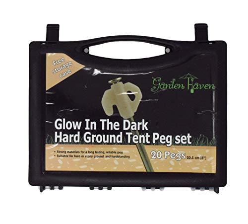 5ca04a7fe6ba Garden Haven Ã'® Hard Ground Heavy Duty Tent Awning Camping 8 Rock Pegs  with Glow In the Dark Heads, Set of 20 with plastic case by Garden Haven ...