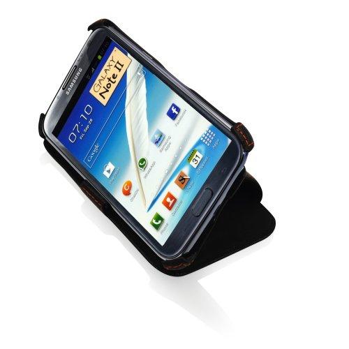Étui / coque de protection / Case pour Samsung Galaxy note 2 II N7100 EN CUIR VÉRITABLE* Design en noir de haute qualité | de Manna
