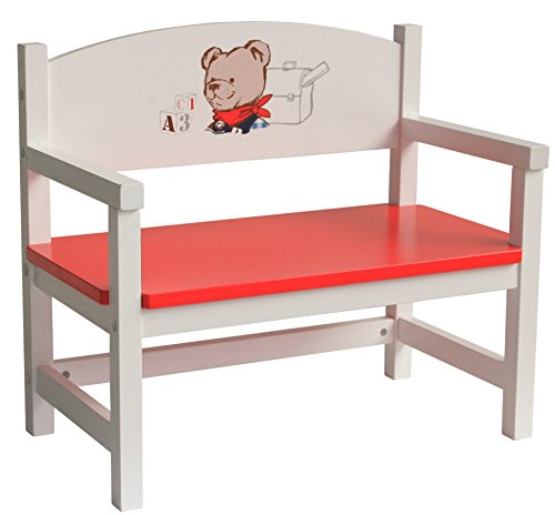 roba Puppenbank aus Puppenmöbel Serie 'Teddy College', Puppenbank weiss lackiert, Puppenzubehör -