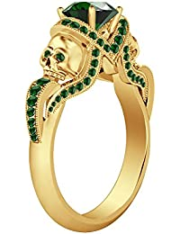 Silvernshine 1.52Ct Green Garnet CZ Diamond 14K Yellow Gold PL Weddding &Engagement Two Skull Ring